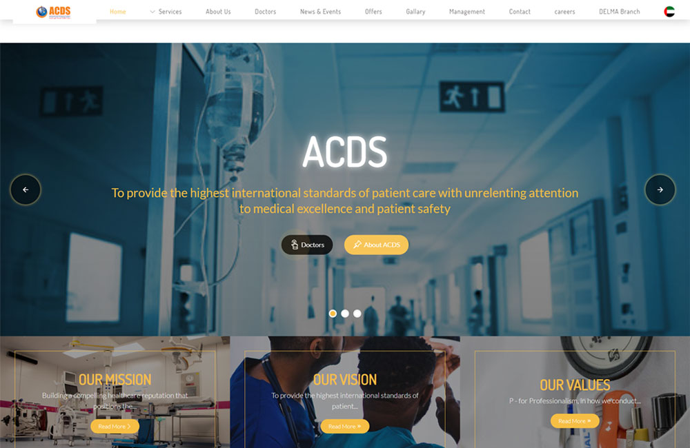 ACDS Website Snapshot | Website by Pentagon