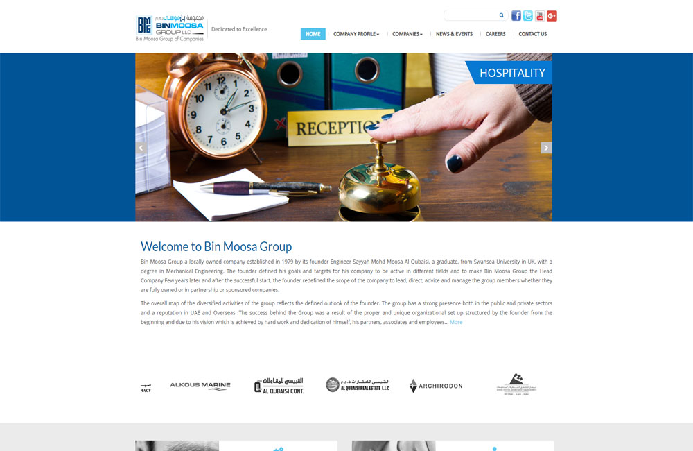 Bin Moosa Group Website Snapshot | Website by Pentagon